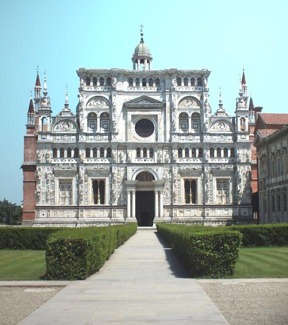Chartreuse Pavie Italie tourisme, galérie photografique de la Chartreuse de Pavie, la façade style Renaissance